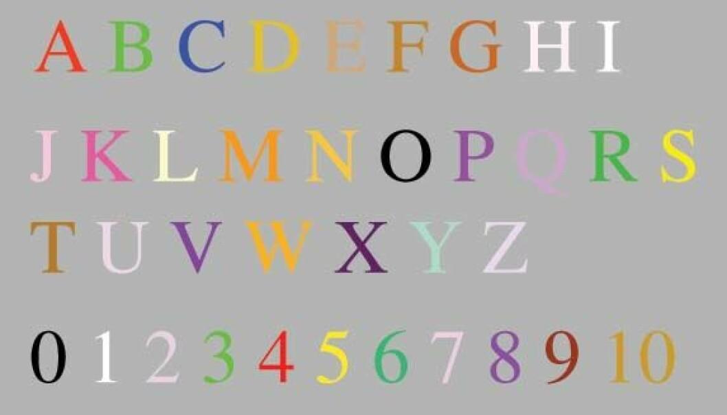 """""""Et eksempel på en synestetikers persepsjon av bokstaver og tall."""""""