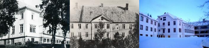 Gammelt og nytt: Gibostad Tuberkulosehjem i Troms i 1928 (til venstre og midten) og Senter for psykisk helse, avd. Gibostad (til høyre). (Foto fra avhandling: Utlånt av informant og Inger Beate Larsen)