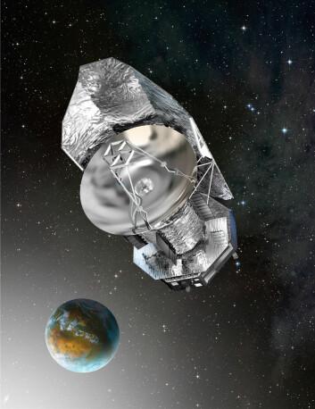 Herschel flyr i en bane 1, 5 millioner km fra jorda. (Illustrasjon: ESA)