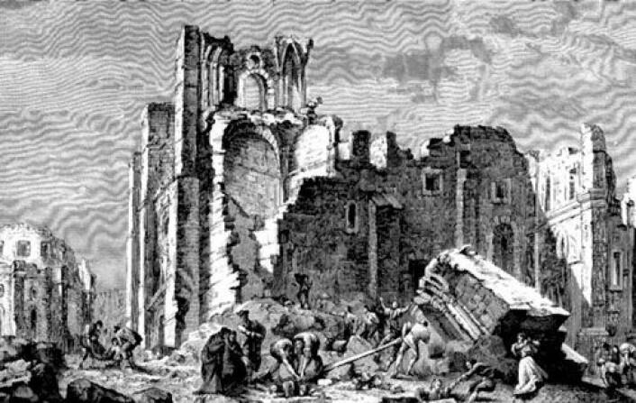 Gammelt kobberstikk som viser Lisboa i ruiner og flammer etter det store jordskjelvet i 1755. Guds straffedom hadde rammet portugiserne, fikk nordmenn vite gjennom datidens medier.
