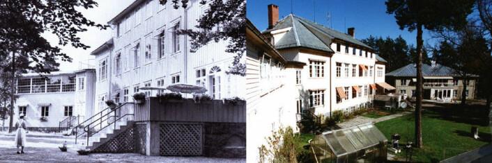 Preståsen Tuberkulosehjem ca. 1935 og Søndre Vestfold DPS ca. 1995. (Foto fra avhandlingen: Utlånt av Sandefjord Sanitetsforening)