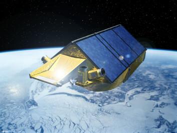 """""""Kunstnerisk fremstilling av CryoSat i bane. Foto: ESA, P. Carril. Ingressfoto også fra ESA."""""""