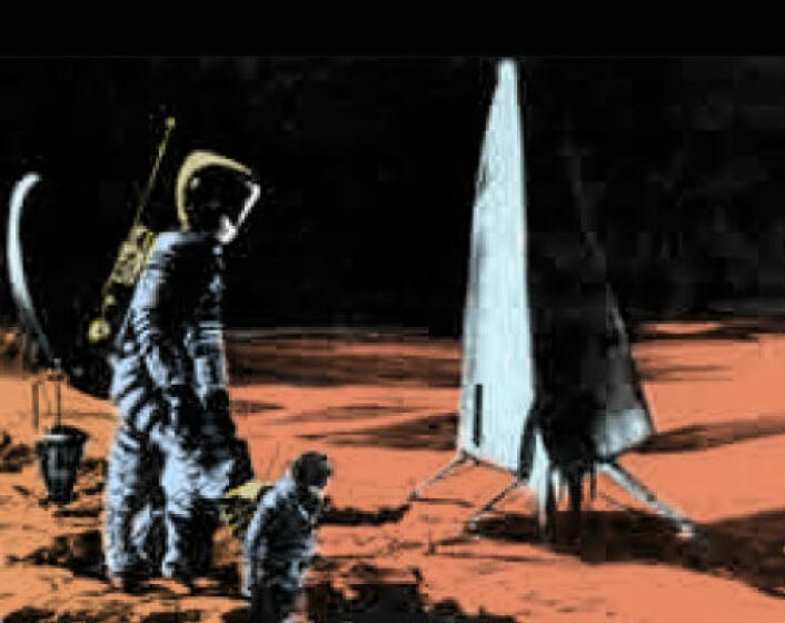 NASA-illustrasjon fra 1963 av bemannet marsferd