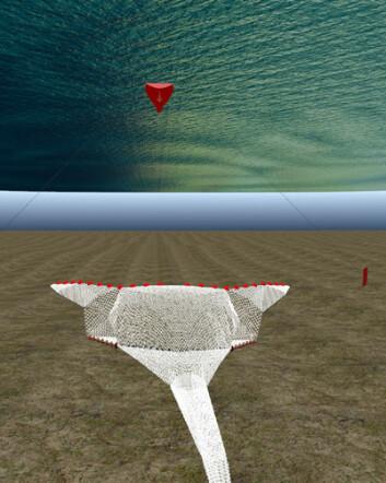 Simulert tråloppsett. (Illustrasjon: SINTEF Fiskeri og havbruk)