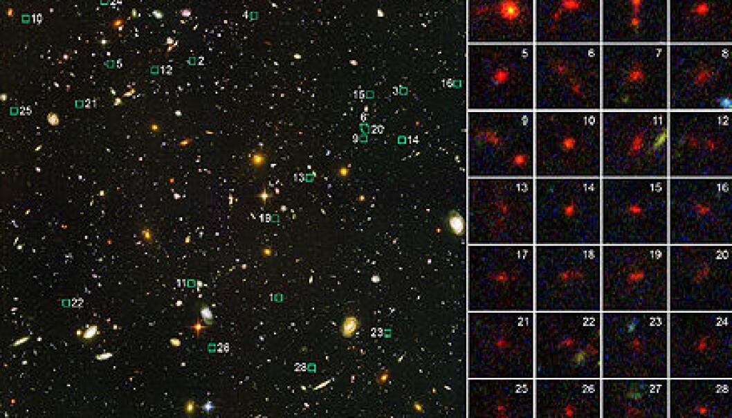 """""""Bildet til venstre er tatt med et vidvinkel-kamera på Hubble, og viser galaksehopen med nummerering tilsvarende de små bildene til høyre med 28 av de mange hundre små rødforskjøvede galaksene. Foto: ESA/NASA"""""""