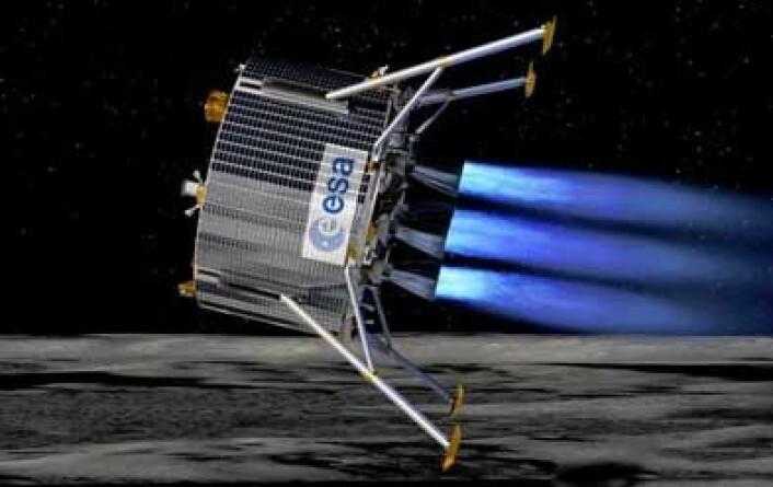 Illustrasjon av ESAs månelander slik den kanskje kommer til å se ut når den styrer mot månens sydpol. (Illustrasjon: ESA)