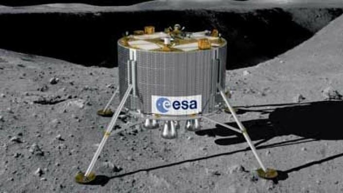 Forhåpentligvis vil den virkelige månelanderen stå like stødig som denne når den en gang lander i det kupperte terrenget. (Illustrasjon: ESA)
