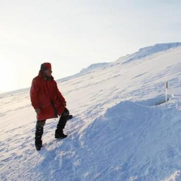 Thor S. Larsen ved hi nr. 31 i Bogen, området med størst hitetthet. (Foto: Øystein Overrein/Norsk Polarinstitutt)
