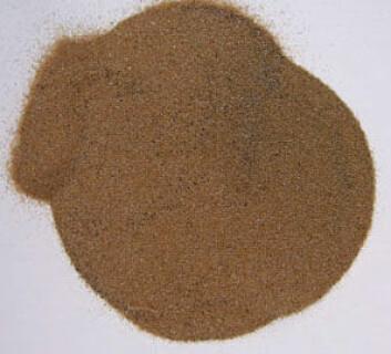 Mineralet monazitt, som inneholder de største forekomstene av thorium i verden. I Fensfeltet er det mineralet derimot raubergitt som inneholder thorium. (Foto: U.S. Geological Survey)