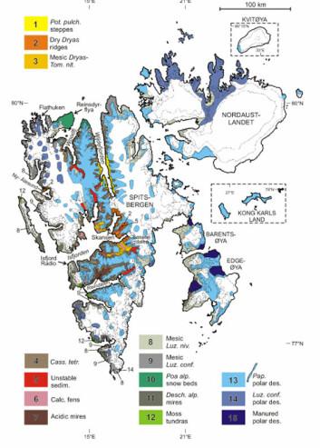 """""""Med sine forholdsvis store klimavariasjoner er Svalbard for et mini-Arktis å regne. Dette nye kartet kommer til å bli brukt som et verktøy i klimaforskning. (Kart: Arve Elvebakk)"""""""
