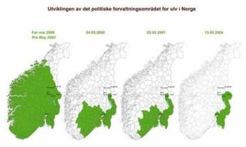 """""""Dette er utviklingen av det norske forvaltningsområdet for ulv fra før mai 2000 (det første kartet), til og med de siste endringene som ble gjort i mai 2004 (det siste kartet). Kilde: Foreningen våre rovdyr"""""""