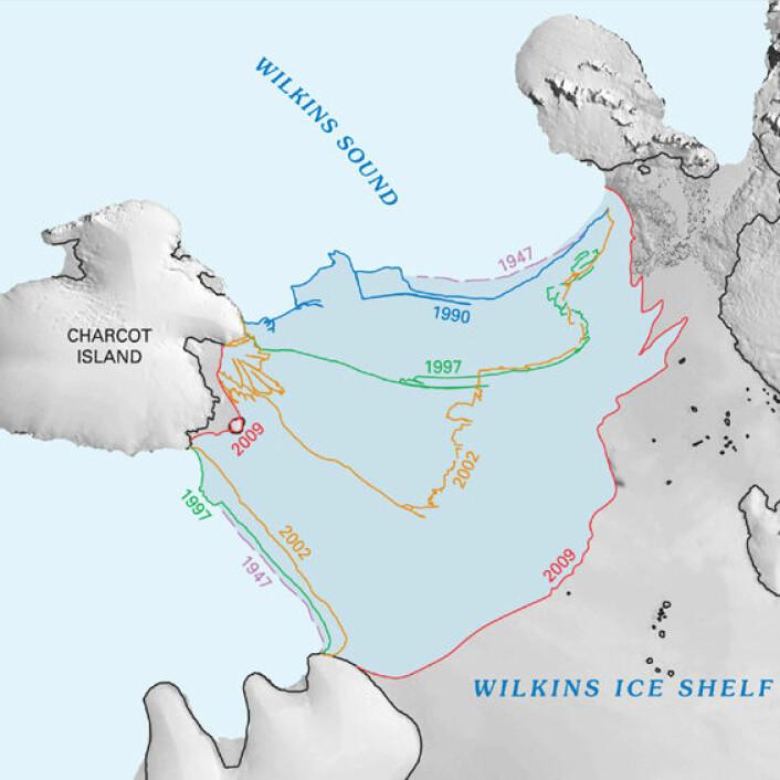 """""""Bildet viser et utsnitt av kartet som kan lastes ned fra nettsidene til USGS. Det mørkeblå området har smeltet siden 1947. (Figur: U.S.Geological Survey)"""""""