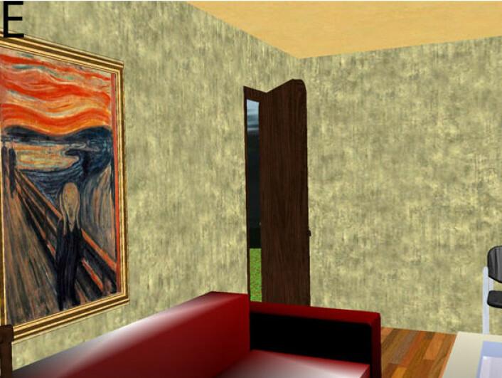 """""""Av uvisse grunner valgte forskerne å innrede det virtuelle rommet med en versjon av Edvard Munchs Skrik. (Illustrasjon: fra studien)"""""""