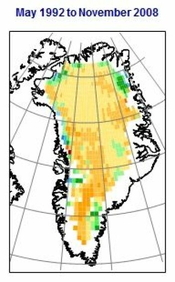 Endringene i grønlandsisen 1992-2008. Oransje og gule områder er høyere is, grønne og blå områder er lavere is. Årlig vekst 3,2 cm. (Figur: Johannessen mfl./NERSC)