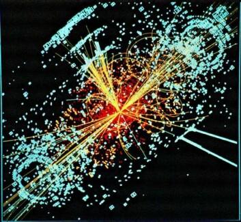 Simulert bilde av en Higgs-partikkel som bryter sammen etter kollisjon mellom to aksellererte protoner i LHC. (Illustrasjon: CERN)