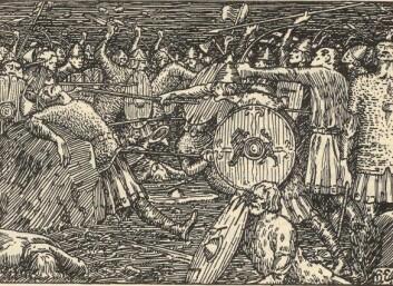 Olav den Helliges fall på Stiklestad, slik Halvdan Egedius illustrerte det i Snorre.