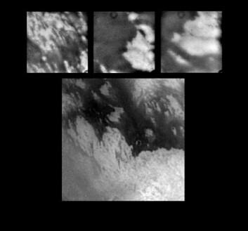 """""""Disse bildene er tatt mye nærmere enn det øverste. Det store bildet nederst er tatt på rundt 340 000 kilometers avstand, og spenner over et område på rundt 2 000 kilometer. De tre mindre bildene viser detaljer fra det store, og spenner over områder på 300-500 kilometer. De smale, mørke båndene på det midterste og det høyre bildet er rundt to kilometer brede og opp til noen få hundre kilometer lange."""""""