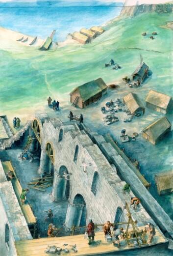 Stavanger, slik det kan ha sett ut på den tida domkyrkja ble bygd i første halvdel av 1100-tallet. Arkeolog Helge Sørheim trur at Stavanger blei etablert som eit reint bispesete med minimal urban busetnad. (Illustrasjon: Eva Gjerde)