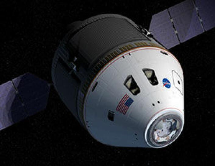 Romskipet Orion, som kanskje skal ta mennesker til Mars i en ikke altfor fjern framtid. Det er ikke snakk om at astronautene skal sove gjennom ferden på dette romskipet.