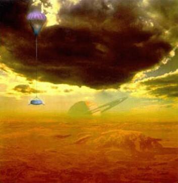 """""""Slik kommer det kanskje til å se ut når (hvis) Huygens lander på Titan. Illustrasjon: NASA"""""""