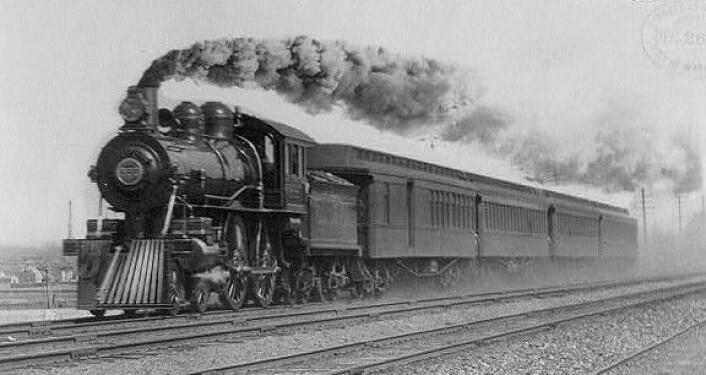 Tog bragte verden tettere sammen i løpet av andre halvdel av 1800-tallet. Det bidro oss til at epidemier spredte seg raskere. Bildet viser the Empire State Express i 1893. (Foto: Wikimedia Commons)