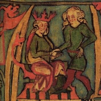 Harald Hårfagre fra det islandske manuskriptet Flateyjarbók fra 1300-tallet. (Bilde: Wikimedia Commons, se lisens)