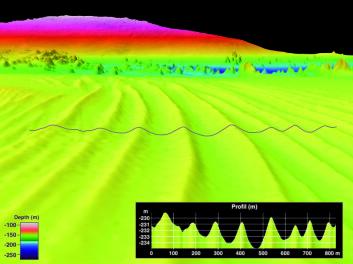 Sandbølger sett i perspektiv. Område med korallrev i bakgrunnen. Høyden på sandbølgene er opp mot 5 meter. Horisontal avstand langs den svarte linjen i bildet er ca. 800 meter. Avstanden mellom toppene er rundt 100 meter. (Illustrasjon: Statens kartverk Sjø/MAREANO)