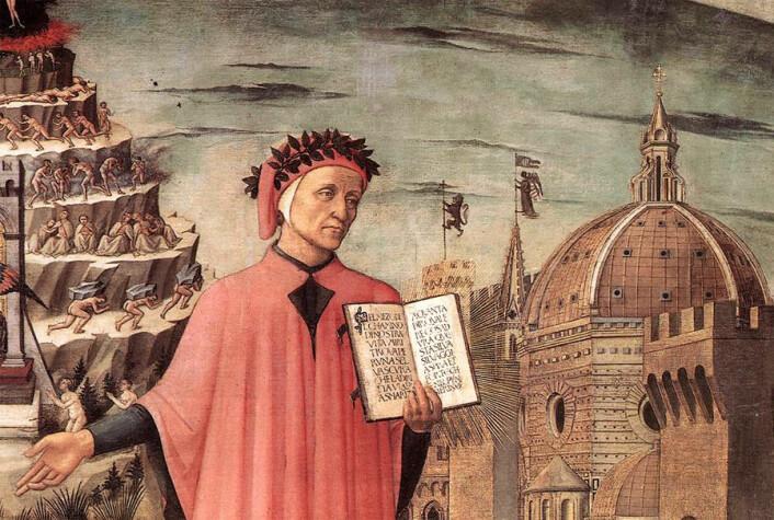 Dante ble inspirert til å se inn bak diktningen med filosofiske øyne. (Maleri: Domenico di Michelino)