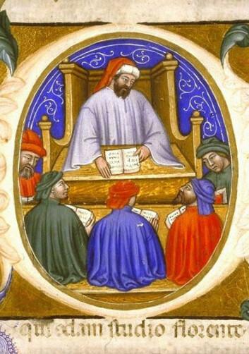 Boëthius som underviser sine studenter. (Illustrasjon: Wikimedia Commons)