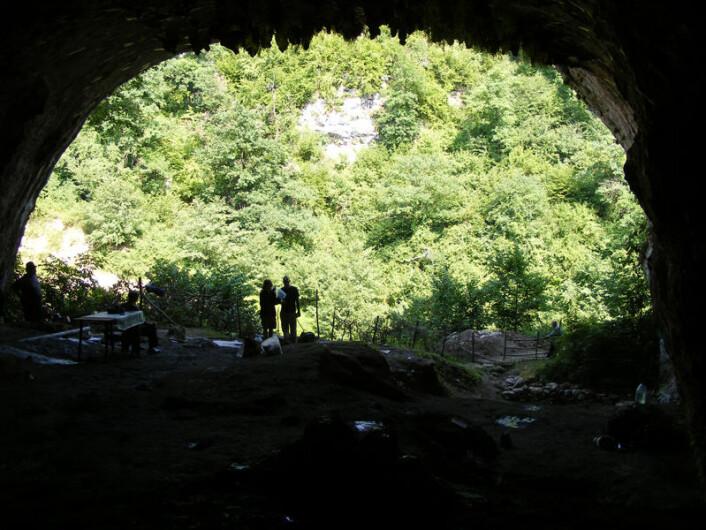 I Dzudzuana-hulen i Georgia er det funnet rester av plantefibre brukt av mennesker for minst 32 000 år siden. (Foto: Science/AAAS)