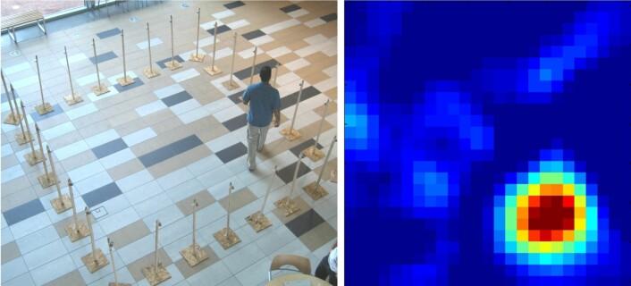 """""""Ved hjelp av 28 billige radiosendere og -mottakere og et dataprogram kan man """"se"""" hvor i det avgrensede området personen befinner seg. (Foto: University of Utah)"""""""