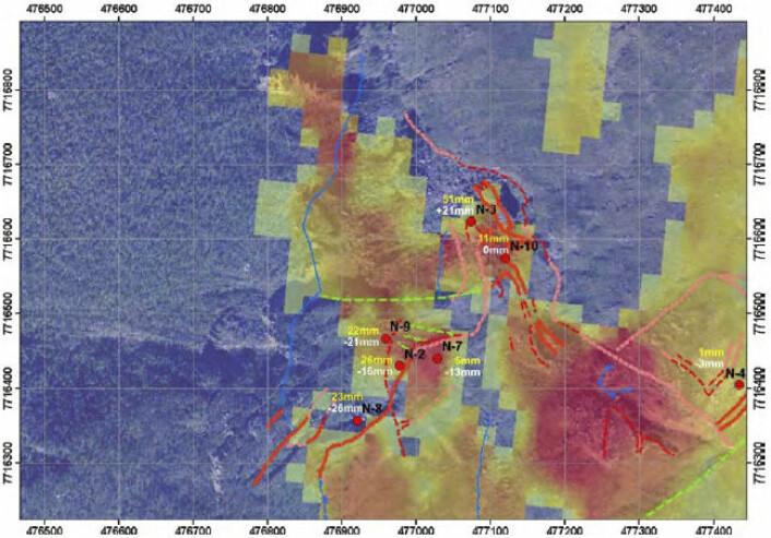 InSAR- bilde drapert over flyfoto fra Nordnes. I tillegg er GPS-målinger og registrerte sprekker plottet inn. Horisontal bevegelse i gul tekst. Vertikal bevegelse i hvit tekst. Rød og rosa linjer er sprekker, grønne linjer er sidelengs forkastninger og blå linjer andtatt glideplan.