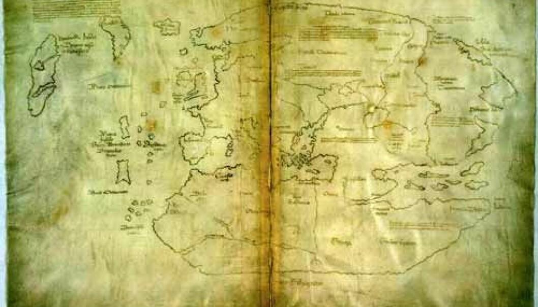 """""""Her er det såkalte Vinlandskartet. Vinlandia Insula er tegnet inn som en øy oppe til venstre i kartet, vest for Grønland."""""""