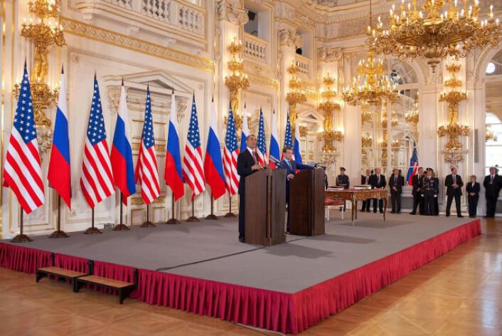 """""""Den amerikanske og den russiske presidenten møttes i Praha i forrige uke. (Foto: The White House/Pete Souza)"""""""