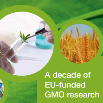 Fra omslagssiden av EU-rapporten A decade of EU-funded GMO research (2001-2010)