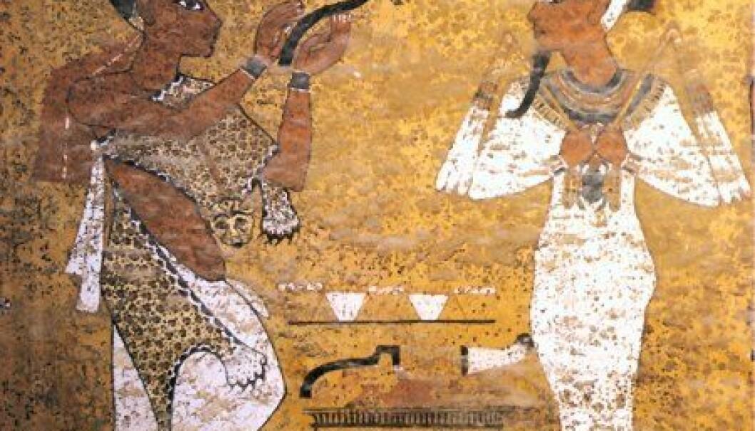 Maleri i Tutankhamons gravkammer. (Foto: Wikimedia Commons)