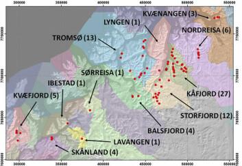 Kart som viser skredfarlige områder fordelt på kommunene i Troms