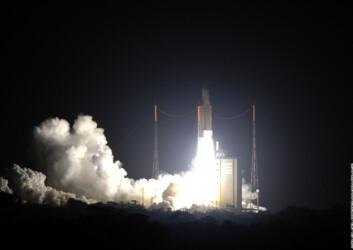 """Oppskytingen var vellykket. Foto: ESA-CNES-Arianespace. Ingressfoto: ESA/MSG Team."""