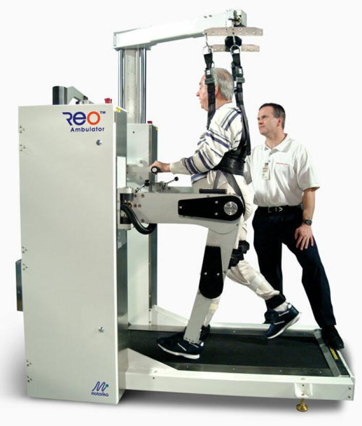 Det finnes også fysioterapiroboter for gjenopptrening av bein, gange og balanse. (Foto: Motorika-ReoTherapy)