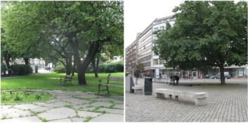 Utsnitt av to Oslo-motiver som var inkludert i bildestudien. Den lille parken med mye vegetasjon, ved Hegdehaugsveien like nord for Slottet, fikk høy rangering hva angår muligheter for restitusjon. Plassen med lite vegetasjon og harde flater, på Grønland i Oslo sentrum, fikk dårligere skåre. (Begge foto: Helena Nordh, UMB)