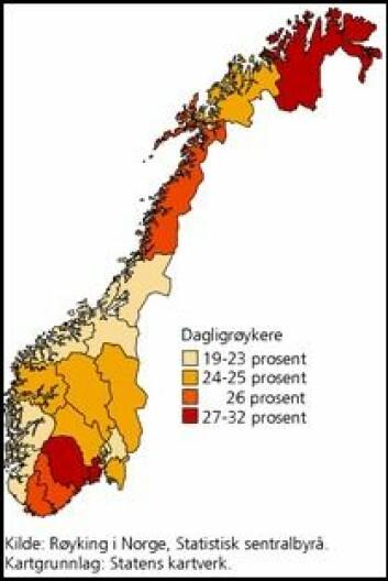 Dagligrøykere, etter region og tid 2004-2008. (SSB)