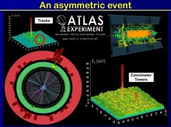 Når blykjerner kolliderer i LHC-akseleratoren i Cern oppløses kvarker og gluoner til en ursuppe. (Illustrasjon: Atlas)