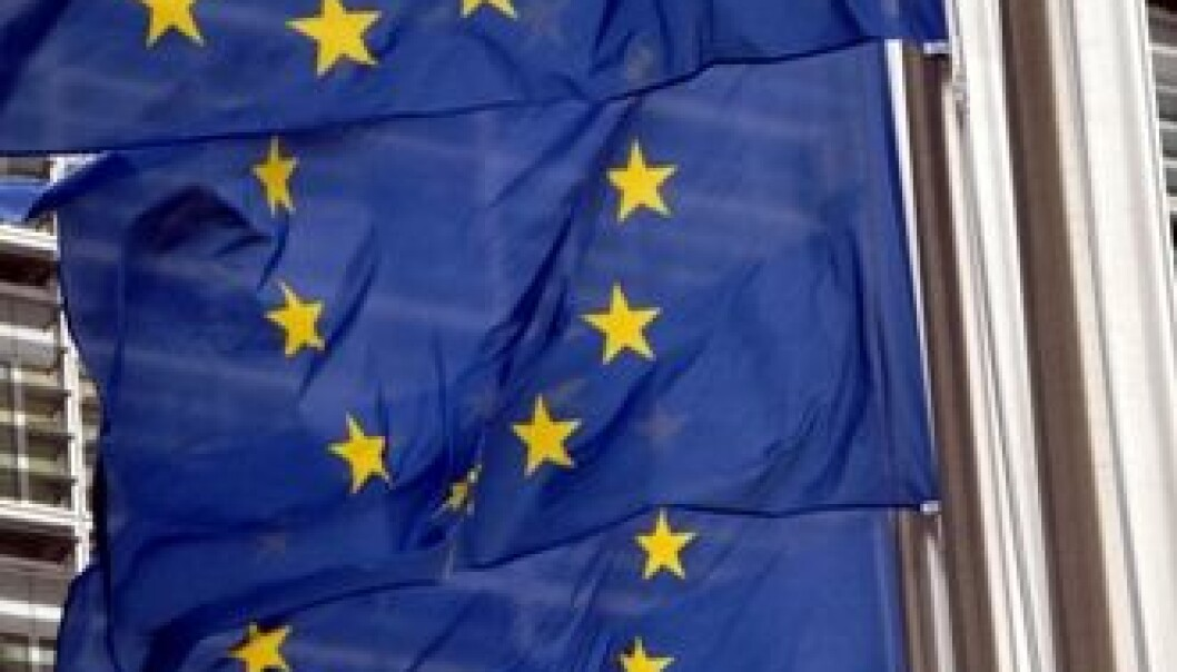 EU-flagg foran EU-kommisjonens bygg i Brussel.