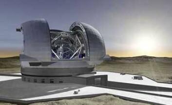 European Extremely Large Telescope (E-ELT) vil stå ferdig på Cerro Armazones i Chile i 2018. Teleskopet får hovedspeil med diameter på 42 meter, og baseres på Nelsons konsept. (Illustrasjon: ESO)