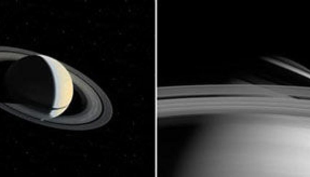"""""""Bildet til venstre ble tatt 1. november 1980, av NASAs romsonde Voyager, fra 5,3 millioner kilometers avstand. Det viser hvordan ringene kaster en skarp og smal skygge over ekvator. Bildet til høyre ble tatt av Cassini 10. mai 2004, fra 27,2 millioner kilometers avstand. Det viser et sammensatt sett av skygger fra ringene, over en stor del av den nordlige halvkule. Årsaken er at Sola nå befinner seg under ringplanet."""""""