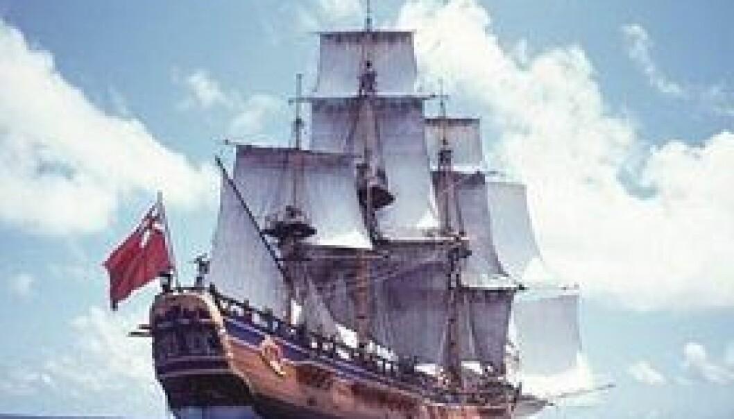 """""""12. august 1768 dro Endeavour ut fra havnen i Plymouth. (Bilde: NASA)"""""""