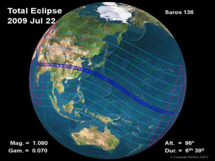 Kartet viser hvordan solformørkelsen beveger seg over jordkloden, tidlig den 22. juli 2009. (Foto: NASA)