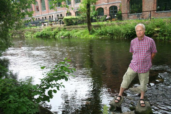 Akerselva i sensommerprakt i fjor. Her med leder for Naturhistorisk museums laboratorium for ferskvannsøkologi, Svein Jakob Saltveit, i forgrunnen. (Foto: Andreas Graven)