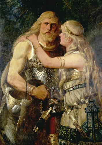 Arminius tar farvel med Thusnelda på dette maleriet av Johannes Gehrts fra 1884. (Foto: Wikimedia Commons/Lippisches Landesmuseum Detmold)