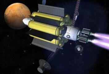 Slik kan et romskip med VASIMR-motoren se ut en gang i fremtiden. (Illustrasjon: Ad Astra)